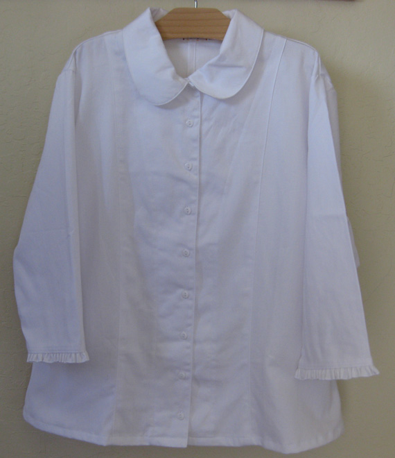 White Twill Modest Blouse