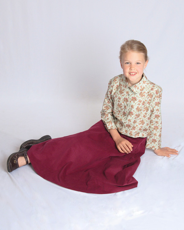 Maroon Corduroy Skirt with blouse in  Butterfly Garden