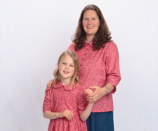Modest Blouse shown in Pink Dots